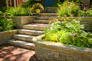 garden stone steps and retaining walls