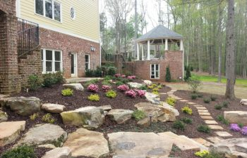 garden stone steps and a flagstone paver