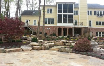 a flagstone patio and garden hardscape