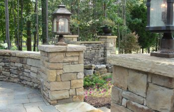 outdoor lighting on a flagstone patio