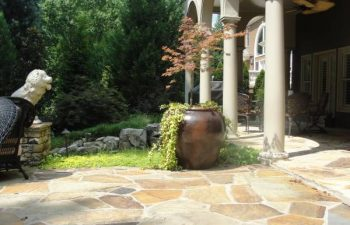 a flagstone patio