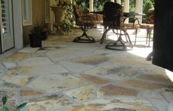a flagstone porch