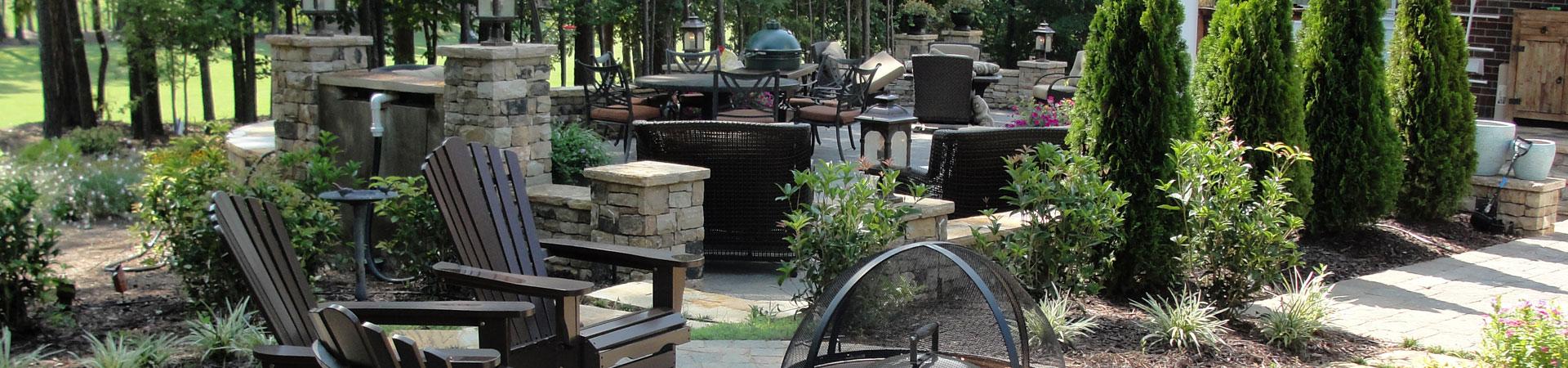backyard patio with garden furniture